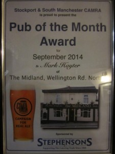 Pub Of the Month award 2014